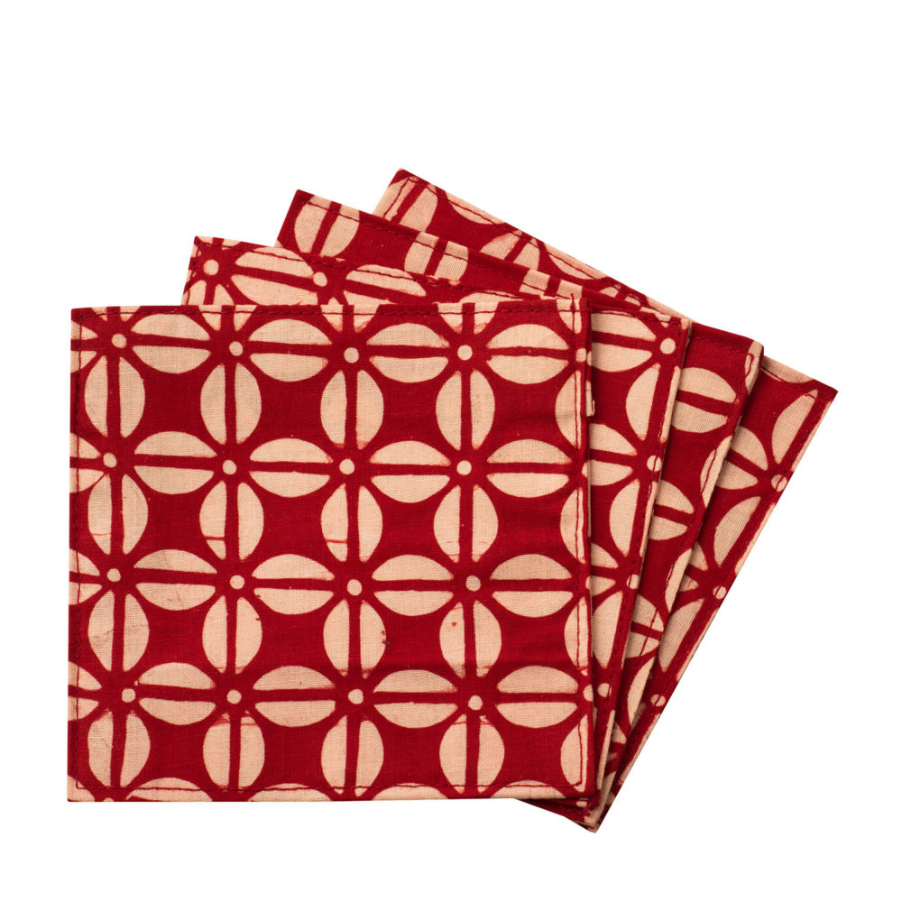 Coaster Batik red Set 4
