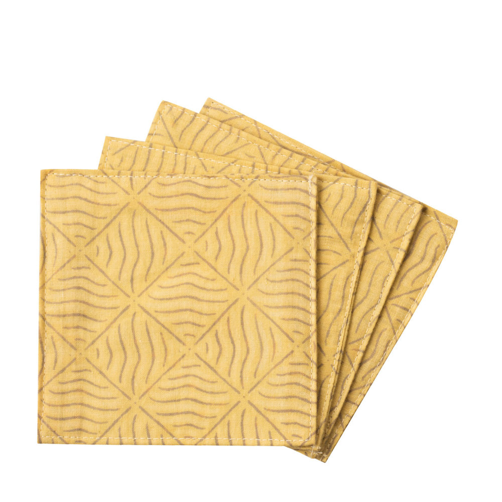 Coaster Batik Yellow Set 4