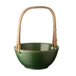 classic round rattan serving bowl