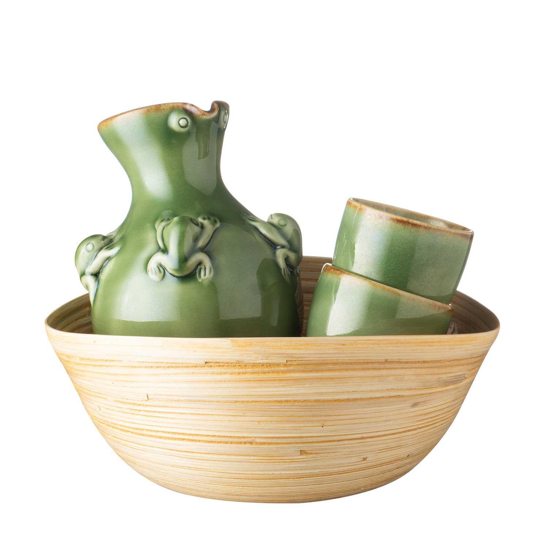 frog sake bottle & cup