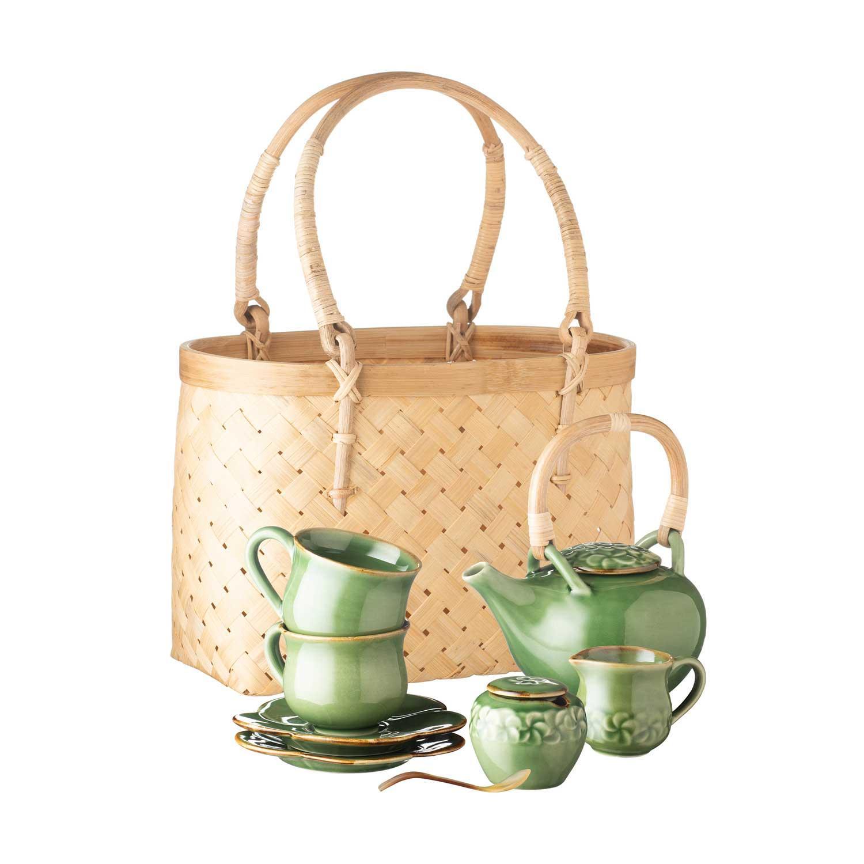 Frangipani Teapot Set Green Gloss With Brown Rim
